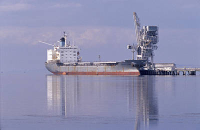Cargo Tanker Ship Tied Up To A Jetty Art Print