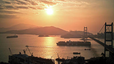 Hong Kong Photograph - Cargo Vessel Crossing The Bridge by Jimmy LL Tsang