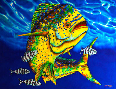 Salt Water Game Fish Painting - Caribbean Bull by Daniel Jean-Baptiste