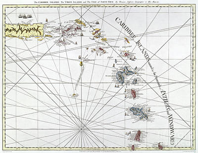 Nautical Chart Photograph - Caribbean: Map, 1775 by Granger