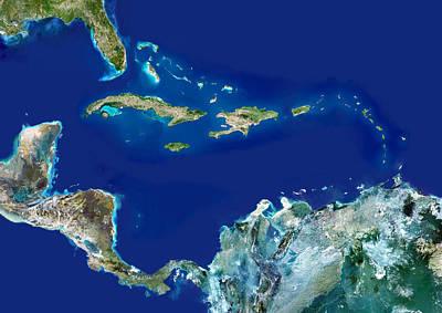 Bahama Islands Photograph - Caribbean, Satellite Image by Planetobserver