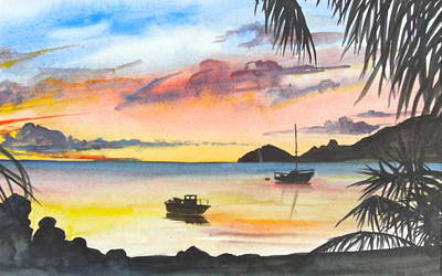 Caribbean Sunset Original by Lisa Wright