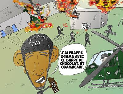 Obamacare Mixed Media - Caricature De Obama Et Le Coup De Seal Team 6 Sur Osama by OptionsClick BlogArt