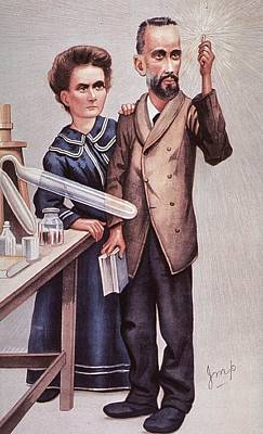 Caricature Of Pierre And Marie Art Print by Everett