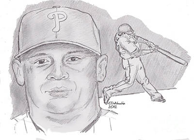 Print featuring the drawing Carlos Ruiz by Chris  DelVecchio