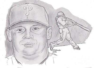 Drawing - Carlos Ruiz by Chris  DelVecchio
