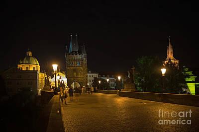 Carls Bridge Prague By Night Art Print