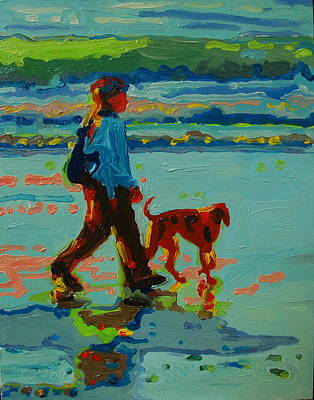 Carmel Beach Sunset Dog Walk Art Print by Thomas Bertram POOLE