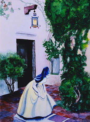 Carmel California Courtyard Print by Eve Riser Roberts