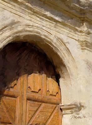 Digital Art - Carmel Mission Basilica Entrance by Jim Pavelle