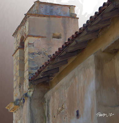 Digital Art - Carmel Mission Basilica Outer Wall by Jim Pavelle