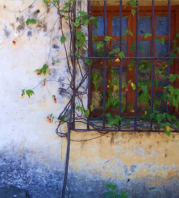Carmel Mission Window And Flowers Art Print by Jim Pavelle