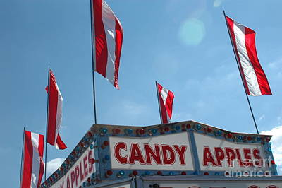 Carnival Festival Fair Candy Apples And Flag Stand Print by Kathy Fornal