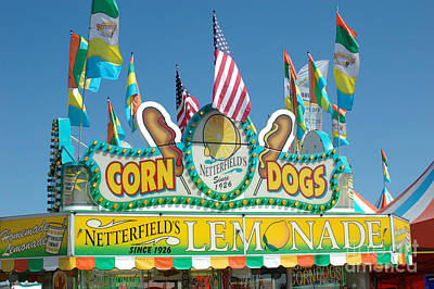 Carnival Festival Fun Fair Corn Dog Lemonade Stand Art Print by Kathy Fornal