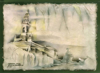 Drawing - Carnota Cathedral 1982 by Glenn Bautista