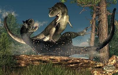 Fight Digital Art - Carnotaurus Fight by Daniel Eskridge