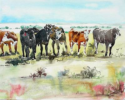 Art Print featuring the painting Carol's Cows by Tom Riggs