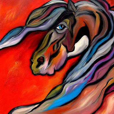 Carousel - Abstract Horse Art By Fidostudio Art Print by Tom Fedro - Fidostudio