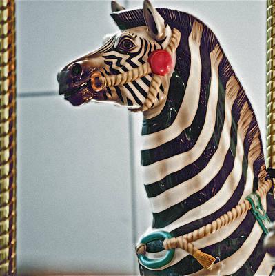 Carousel Zebra Art Print by Bill Owen