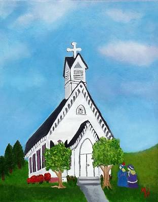 Art Print featuring the painting Carpenter Gothic Church In Louisiana by Margaret Harmon