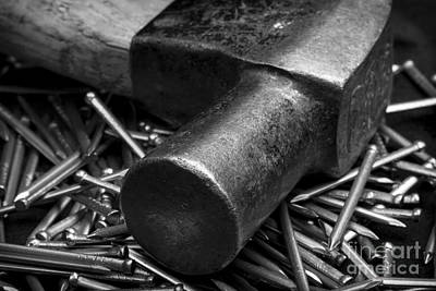 Photograph - Carpenter Handyman Hammer And Nails by Clare Bambers