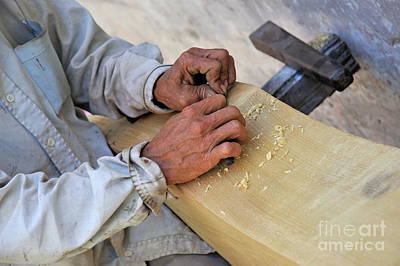 One-man Plane Photograph - Carpenter's Hands by Sami Sarkis