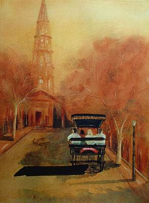 Raw Sienna Painting - Carriage Ride On Church St In Charleston Sc by Rosie Phillips