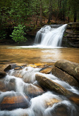 Table Rock Photograph - Carrick Creek Falls - Table Rock State Park Sc by Dave Allen