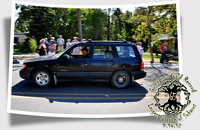 Subaru Parade Photograph - Cars Crossing 109 by PhotoChasers