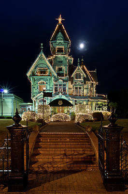 Carson Mansion Photograph - Carson Mansion At Christmas With Moon by Greg Nyquist