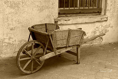 Photograph - Cart For Sale In Sepia by Suzanne Gaff