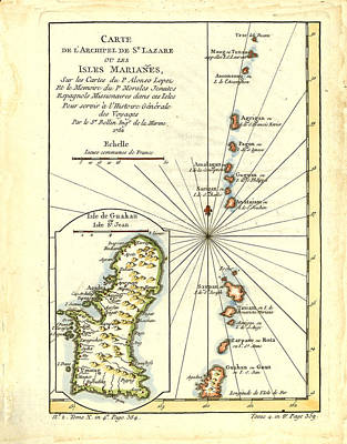 Drawing - Carte De L Archipel De St Lazare Ou Les Isles Marianes by Bellin