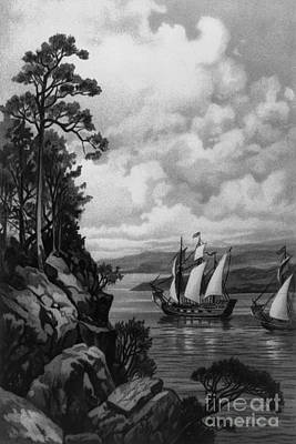 Colonial Man Photograph - Cartier Ascending The St. Lawrence, 1535 by Photo Researchers
