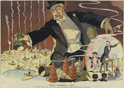 Cartoon Depicting A Giant Businessman Art Print by Everett