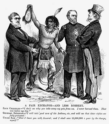 Cartoon: Native Americans, 1876 Art Print by Granger