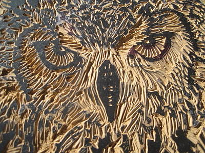 Linoprint Relief - Carved Eagle Owl by Julia Forsyth