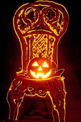 Photograph - Carved Smiling Pumpkin On Chair by Garry Gay