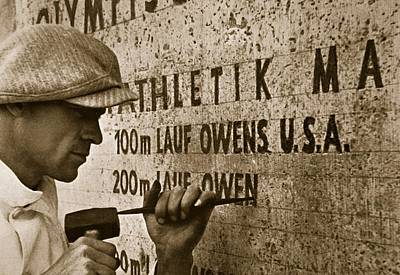 Olympian Photograph - Carving The Name Of Jesse Owens Into The Champions Plinth At The 1936 Summer Olympics In Berlin by American School