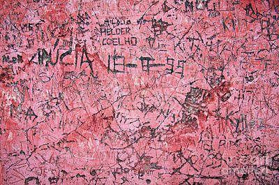 Vandalize Photograph - Carvings On Wall by Carlos Caetano
