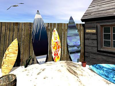 Art Print featuring the digital art Casa Del Surf by John Pangia