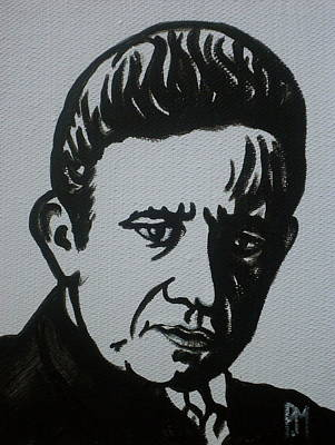Johnny Cash Drawing - Cash In Black by Pete Maier