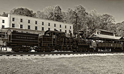 Train Photograph - Cass Railway Wv Sepia by Steve Harrington