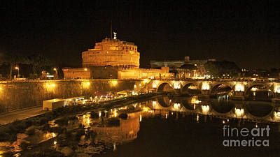 Castle Photograph - Castel San Angelo At Night. Rome by Bernard Jaubert