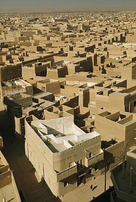 Saudia Photograph - Castellated Walls Of Mud Brick Shade by Thomas J. Abercrombie