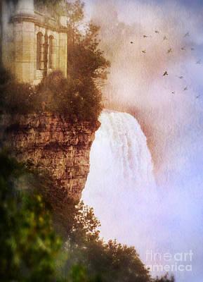Castle At The Edge Of The Falls Art Print by Jill Battaglia