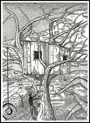 Glenn Mccarthy Drawing - Castle In The Tree 2 - Hand Finished Edition by Glenn McCarthy Art and Photography