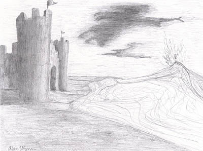 Sand Castles Drawing - Castle Made Of Sand by Alex Wynn