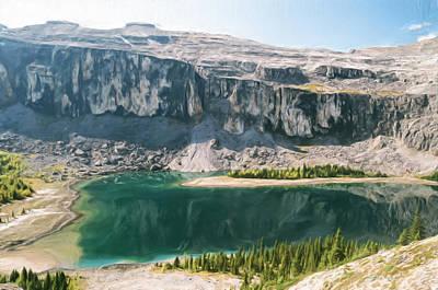 Banff Artist Painting - Castle Mountain Lake 2012 by Wayne Bonney