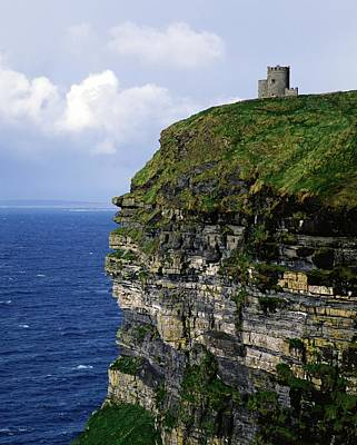 Castle On A Cliff, Obriens Tower Art Print by The Irish Image Collection