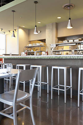Stools And Counter Photograph - Casual Diner Restaurant Interior by ML Harris